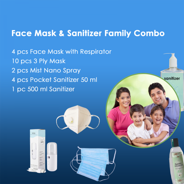 Face Mask & Sanitizer Family Combo